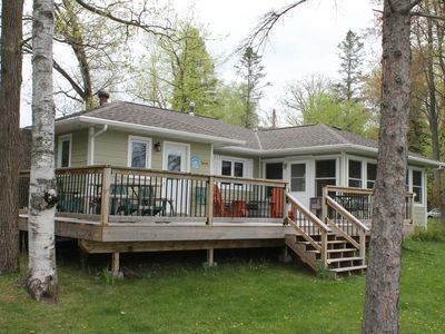 Photo for Family Cabin on Beautiful Bay Lake * Large Lakeside Deck * Large Yard for Games
