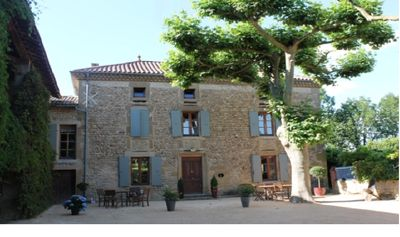 Photo for Pebble house typical of the Drôme hills with jacuzzi