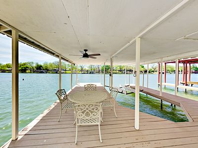 Boat Dock - This rental includes a private covered boat dock, with seating for 4. (The boat slip and lift are not available for guest use.)