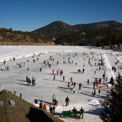 Ice Skating On Evergreen Lake Rental Skates Available