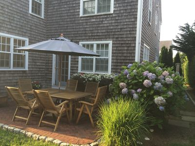 Back patio with table and chairs