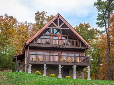 Photo for Updated, mountain view cabin w/ private hot tub, furnished decks, game room!