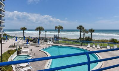 Photo for Overlooking Pool and Beach ~ Enjoy Oceanfront Views! Ebb Tide 203