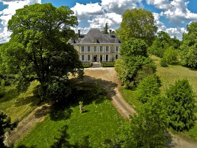 Photo for Romantic chateau XIX in big private estate with river and pool