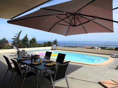 Photo for Contemporary villa, with clim-160 m2, swimming pool, 5 minutes from beaches & shops