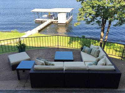 Photo for Amazing! private dock & lrg outdoor living w/ bar - cove location w kayak & SUP