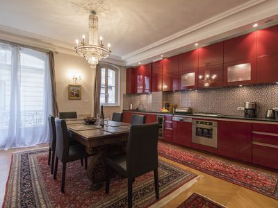 Gourmet kitchen and formal dining area