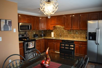 Fully equipped kitchen with Coffee's, tea's, spices pots and pans, glasses