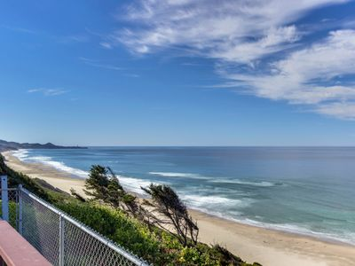 Photo for Dog-friendly beachfront home w/private hot tub for whale watching! Close to town