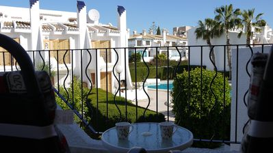View towards pool from master bedroom balcony in Casa Janick 1