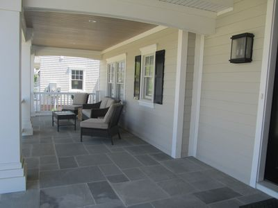 Hang out on the front porch in the glider. Bring your coffee or a cold beverage.
