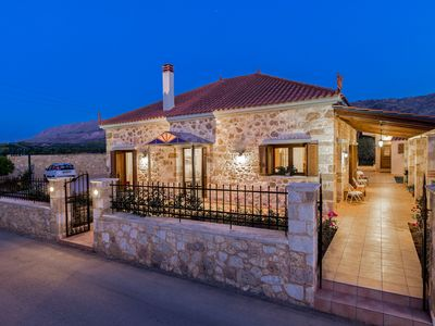 Photo for Elegant, stone-built designer Villa Anerocurù with gardens & BBQ, by Chania city