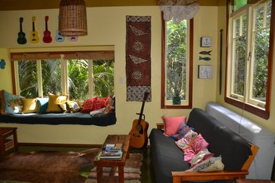 Living area, bed settee andamp; window seat