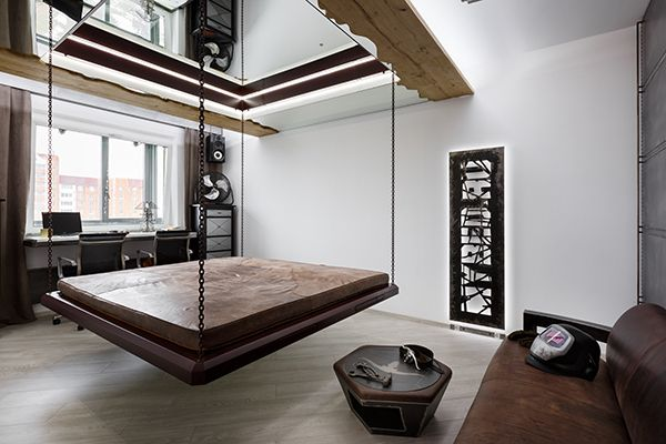 Unusual Apartment With Lift Hanging Bed