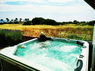 Villa Imerti - New Jacuzzi Spa with 5 seats and view to palm trees beach.