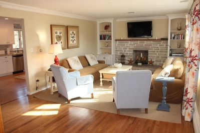 Sun filled living room with ample seating