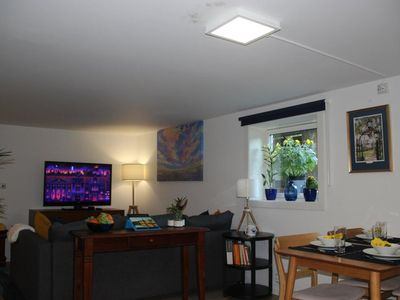Photo for Cosy basement apartment near NTNU - ideal for 1-4 people (5, with young children)