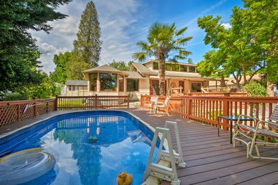 The vacation rental home features a swimming pool.