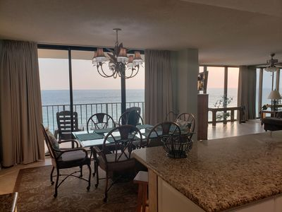Living and dining room has ocean view.