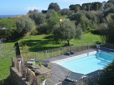 Photo for Stone villa with sea view, private pool, charm and standing - Ile Rousse Corsica