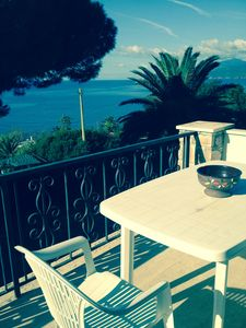 Photo for 80sqm apartment in Villa a100m from the beach, with stunning sea view terrace