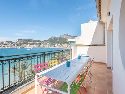 Photo for Apartment on the promenade overlooking the Soller bay. Big balcony with al fresco furniture