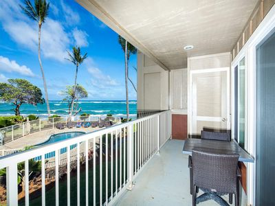Photo for Dreamy Pacific+Pool View! Lanai, Chic Kitchen, WiFi, Den, Kauai Kailani K105