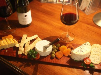 Our complementary cheese platter with a Vasse Felix 'Classic Red - delicious!