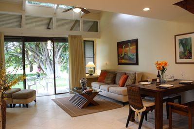 Living room with open lanai beyond