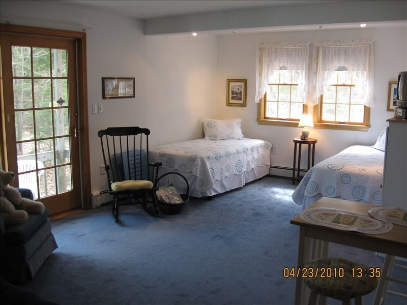 Entry door and beds