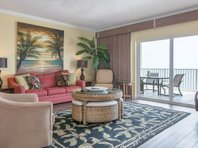 Photo for Tropical style Gulf-front unit, Multiple Resort Pools, Close to entertainment and shopping