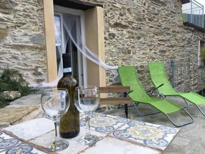 Photo for Charme,confort, in restaured stone house with private terrace , patio and view