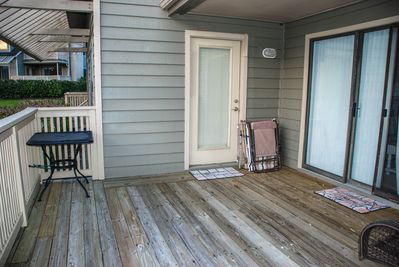 Spacious, lakefront rear deck