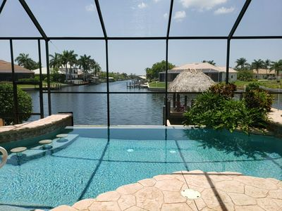 Infinity edge pool overlooking the intersecting canals.