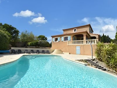 Photo for Villa with heated pool, jacuzzi, sports field and stunning views