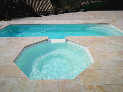 Photo for Beautiful Villa with pool, jacuzzi and boules court not overlooked :)