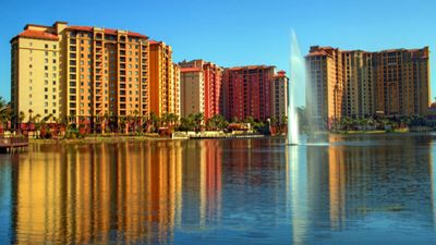Bonnet Creek's towers are set against a beautiful lake.