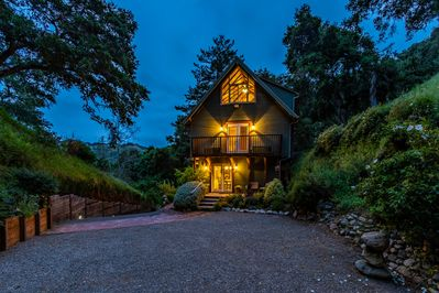 Rear of house at twilight.