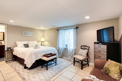 master bed room with double closets & private bath