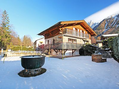 Photo for Superb view of the Mont-Blanc chain facing the chalet in Chamonix