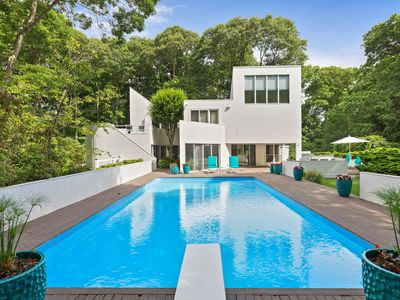 Photo for Late-century modern home with private pool, tennis court - dog-friendly!