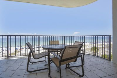 Large Patio Balcony looking out over the Gulf