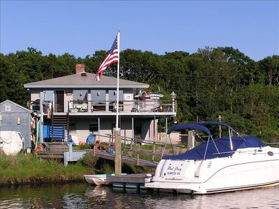 View of back of house and dock from pond.