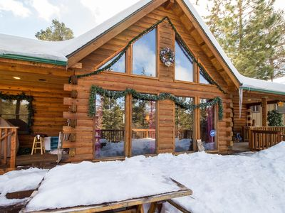 Photo for Modern & elegant wood cabin w/sweeping views & close to skiing