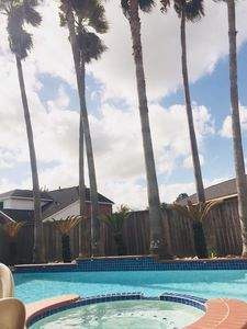 Hot tub and giant palms