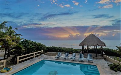 Photo for Akumal Oceanfront with 3 Bedroom suites, oceanside pool, palapa, AC, Wifi.