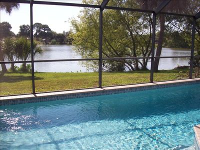 Pool view looking out over lake
