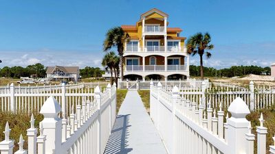 """Photo for Ready Now - No Storm Issues! FREE BEACH GEAR! Beachfront, East End, Pool, Private Boardwalk, Elevator, 6BR/6.5BA """"Simsation"""""""