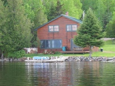 Photo for Newer log cabin right on Rangeley Lake