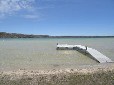 Beach and dock.  Shallow and sandy- ideal / safe for kids
